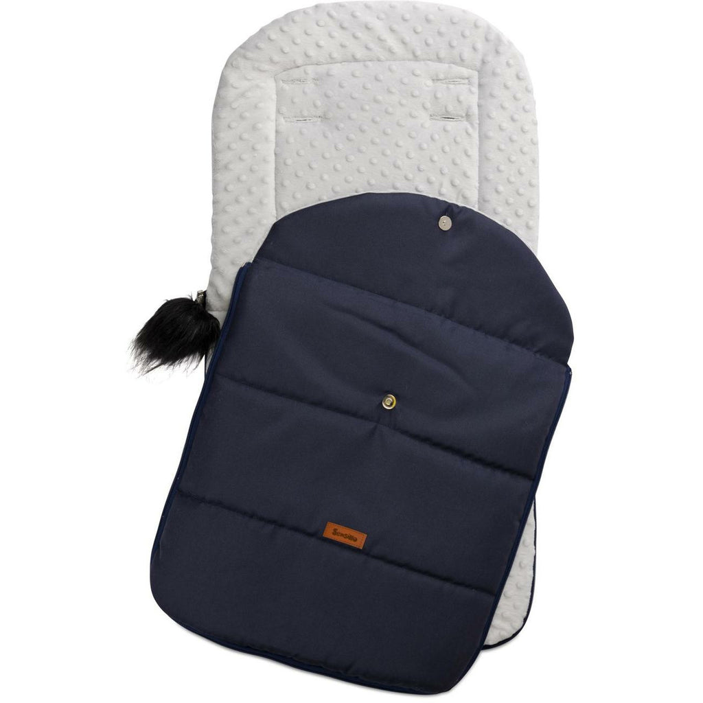 Sensillo waterproof minky footmuff - navy light grey