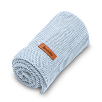 Sensillo 100% Cotton Knitted Blanket - Blue