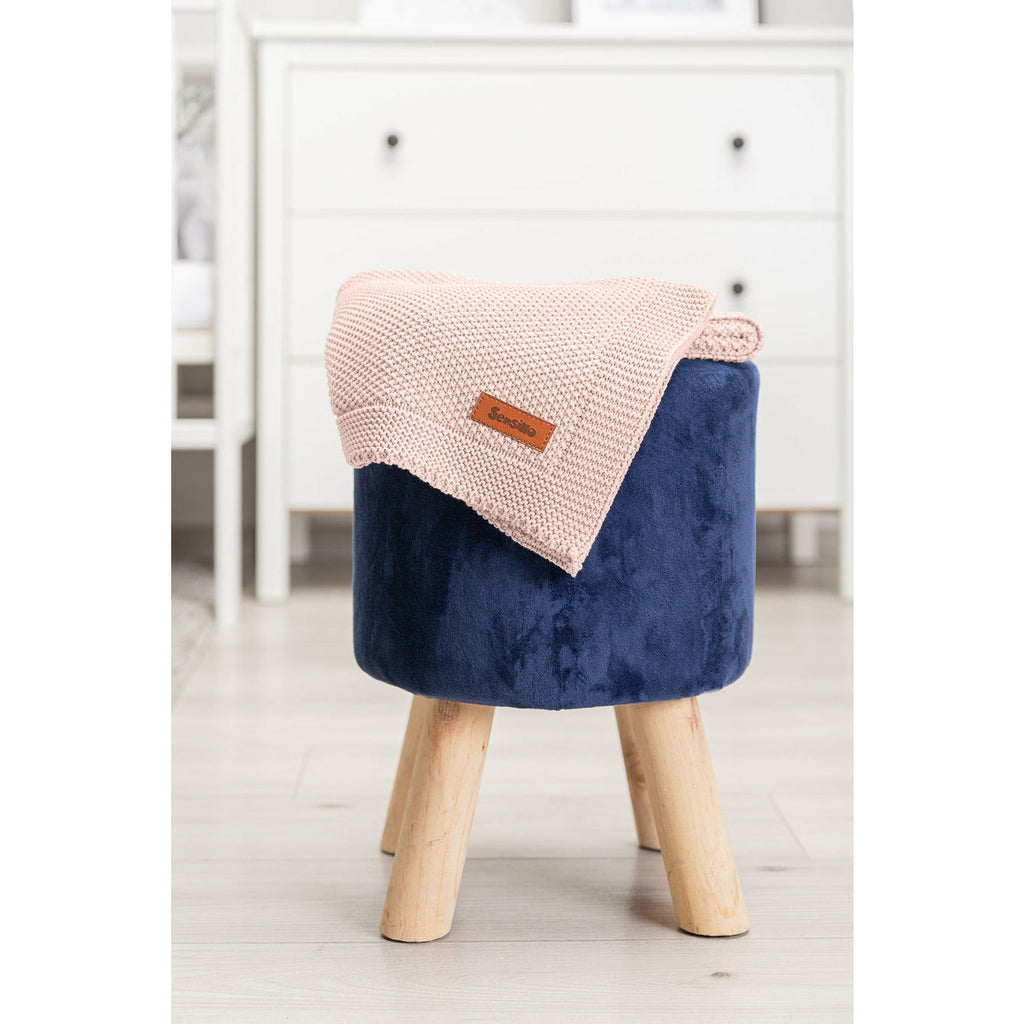 Sensillo 100% Cotton Knitted Blanket - Pink
