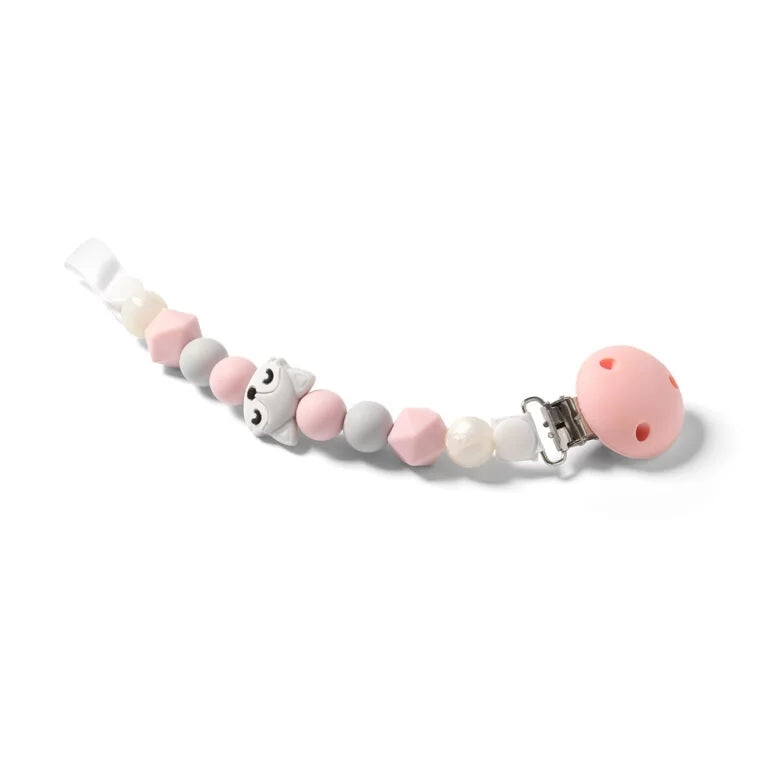 Babyono Soother holder & bead teether - pink fox