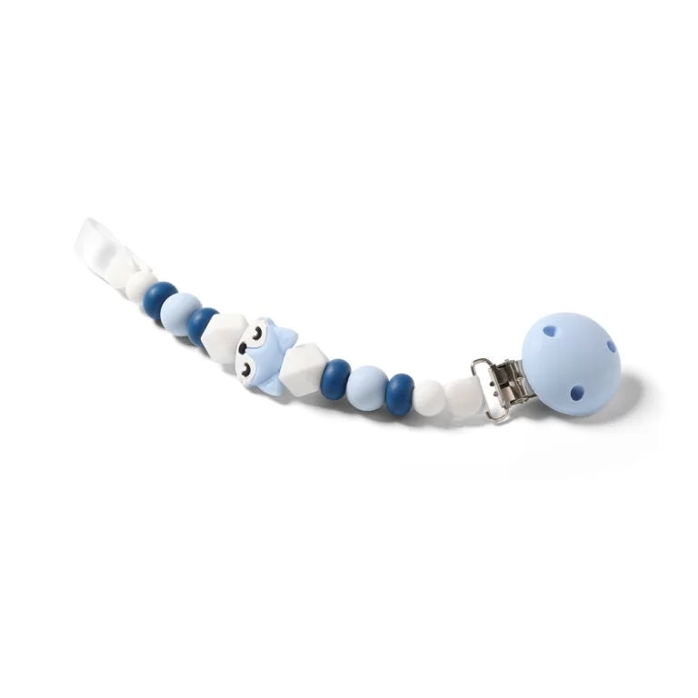 NEW! Babyono Soother holder & bead teether - blue fox