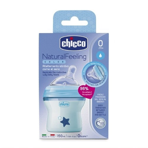 NEW! Chicco NaturalFeeding Bottle 150ml 0m+ - Blue