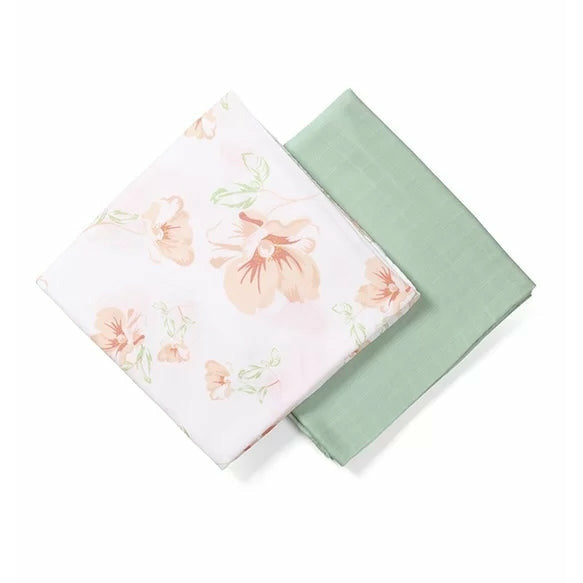 Babyono Bamboo Muslin Swaddles - Tropical Flower 2 pcs