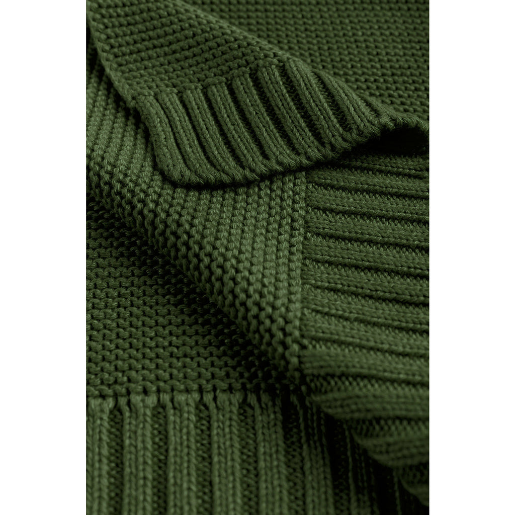 Sensillo Knitted Bamboo Cotton Blanket - Bottle Green