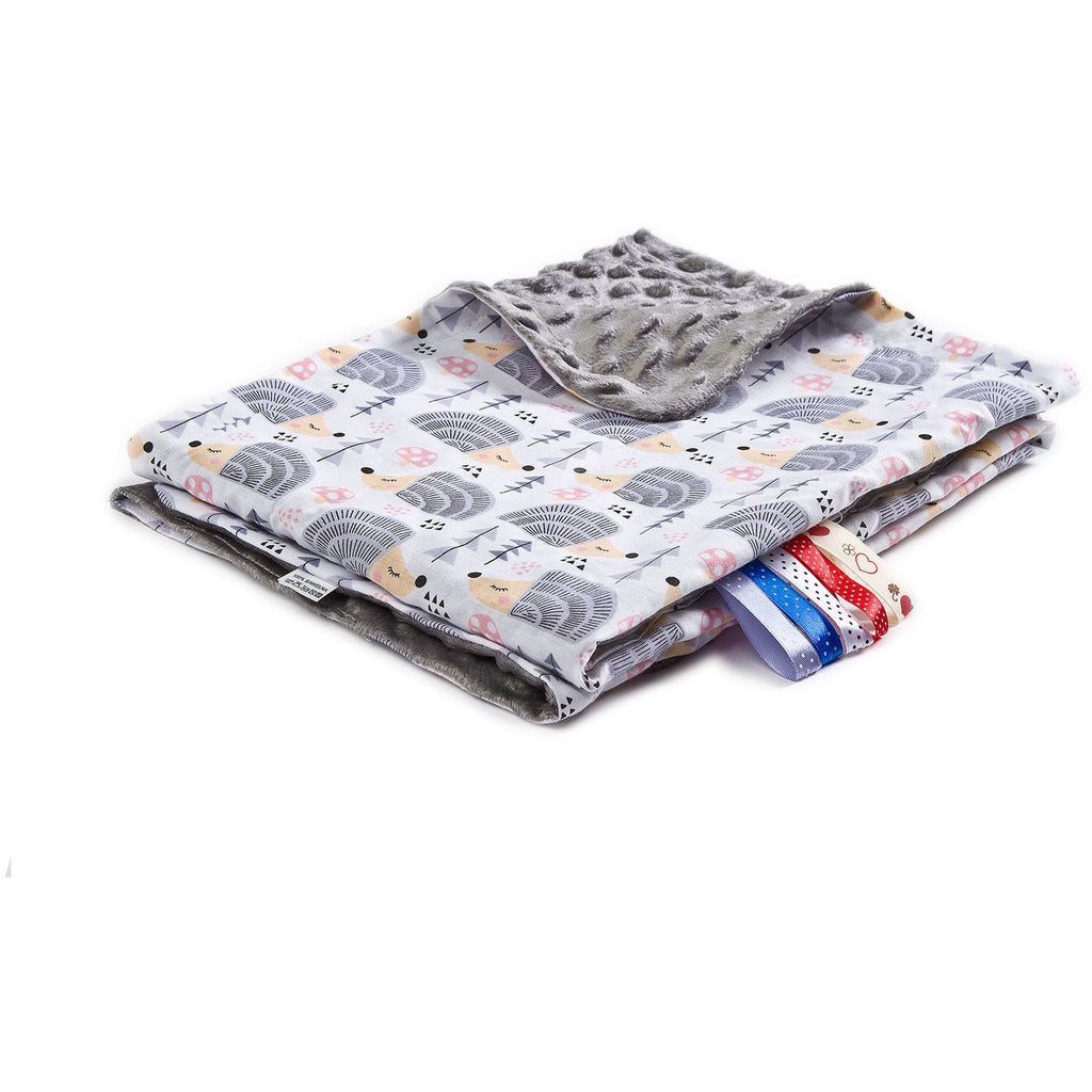 Light Minky Blanket - Grey Hedgehogs
