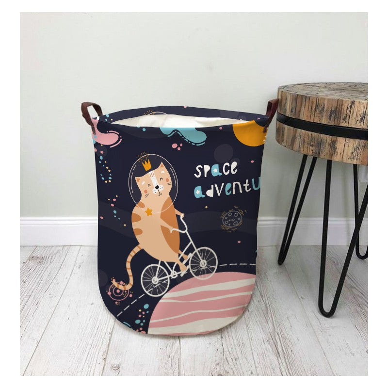 NEW! Storage bin with handles - space cat