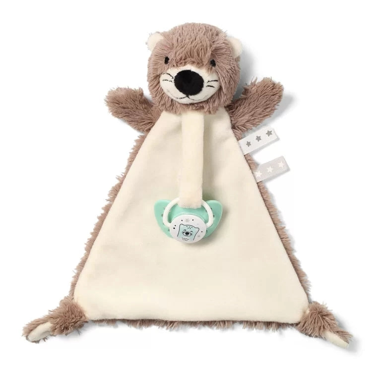 Babyono Otter Maggie blanket with the baby's first little toy