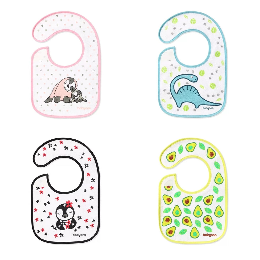 Babyono Terry Bib I EAT AND I GROW (3m+) - 6 Pack