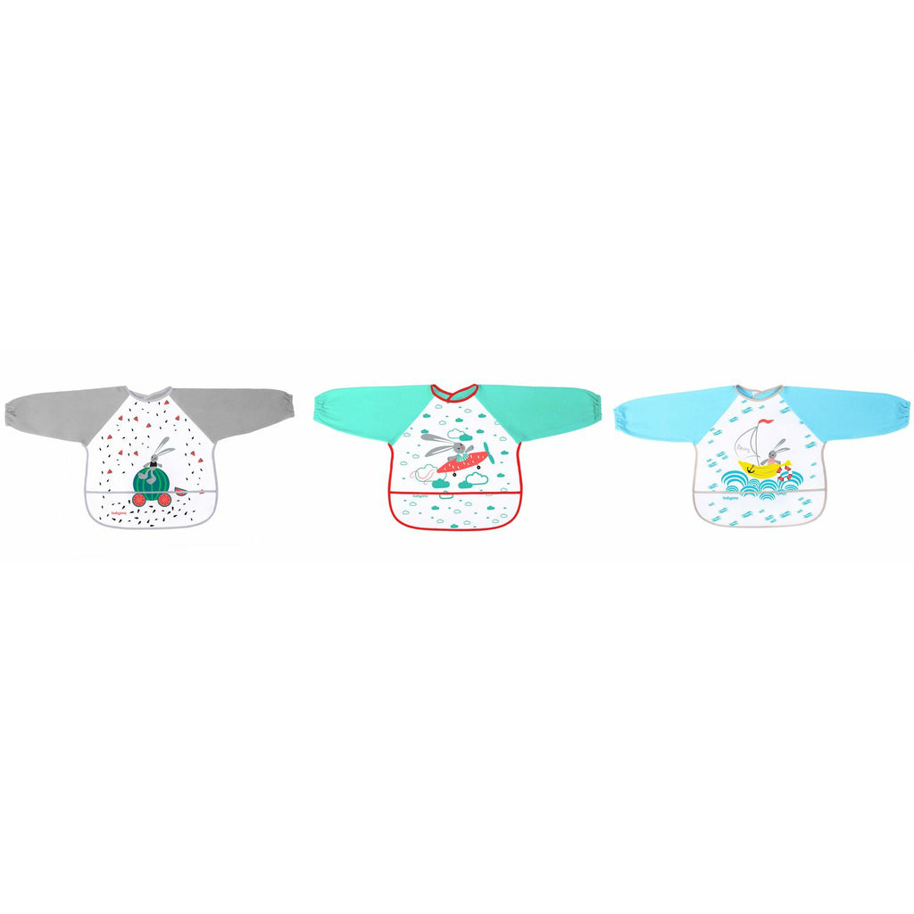 Long sleeve bib BABY ADVENTURE (6m+) - 3 Pack
