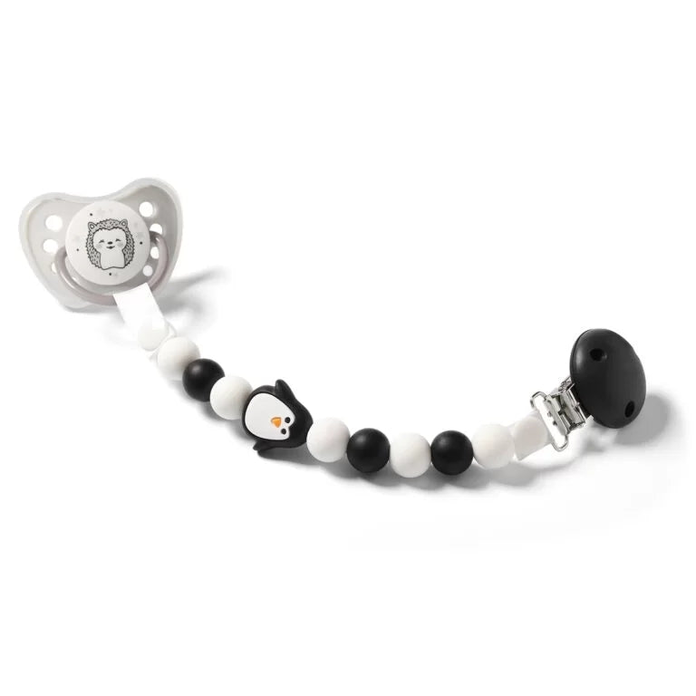 NEW! Babyono Soother holder & bead teether - black penguin