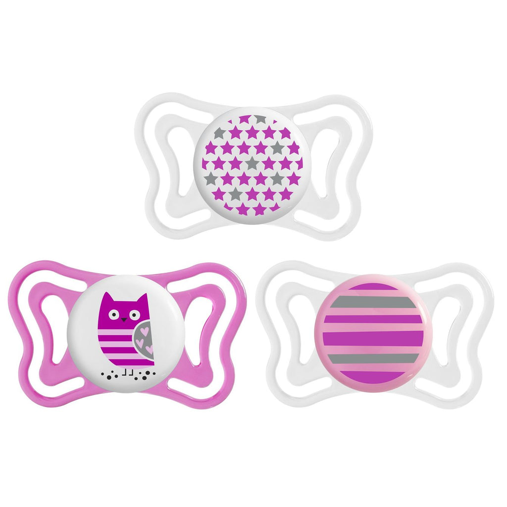 NEW! Chicco PhysioForma Light Soother 2 pack for Girls - 6-16m+