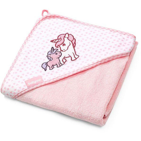 Babyono Bamboo Hooded Towel - Medium or Large - Pink Unicorn