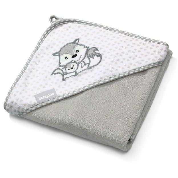 Babyono Bamboo Hooded Towel - Medium or Large - Grey Foxes