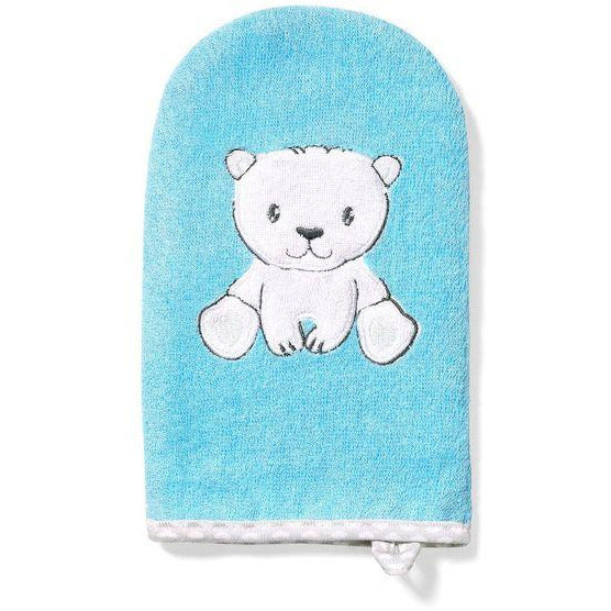 Babyono Natural Bamboo Baby Wash Mitt  - Blue Bear