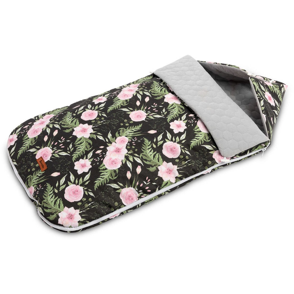 Sensillo Velvet footmuff - Black Flowers