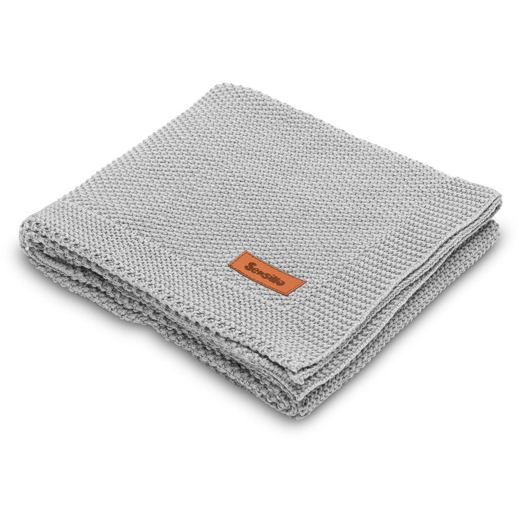 Sensillo 100% Cotton Knitted Blanket - Grey