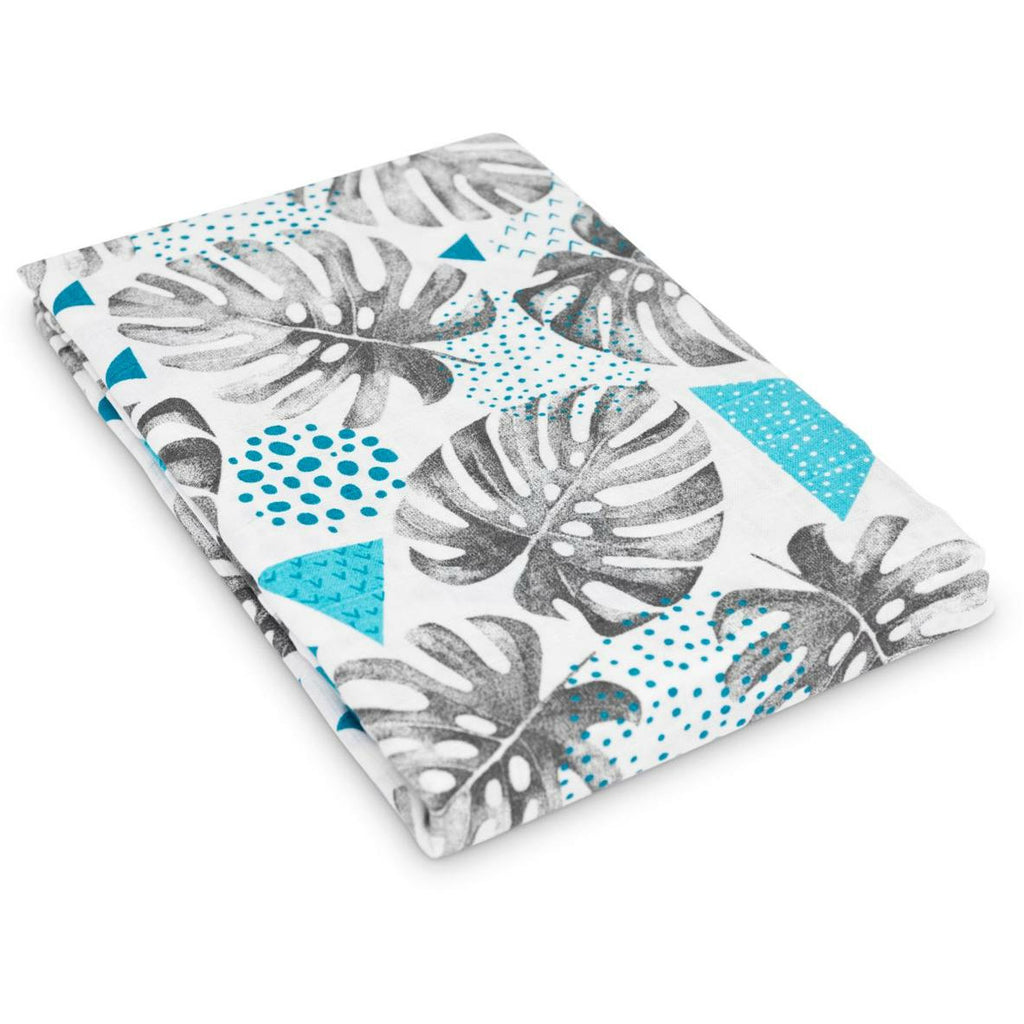 Muslin Swaddle 120 x 120 cm Large Muslin Squares  - Monstera Leaf