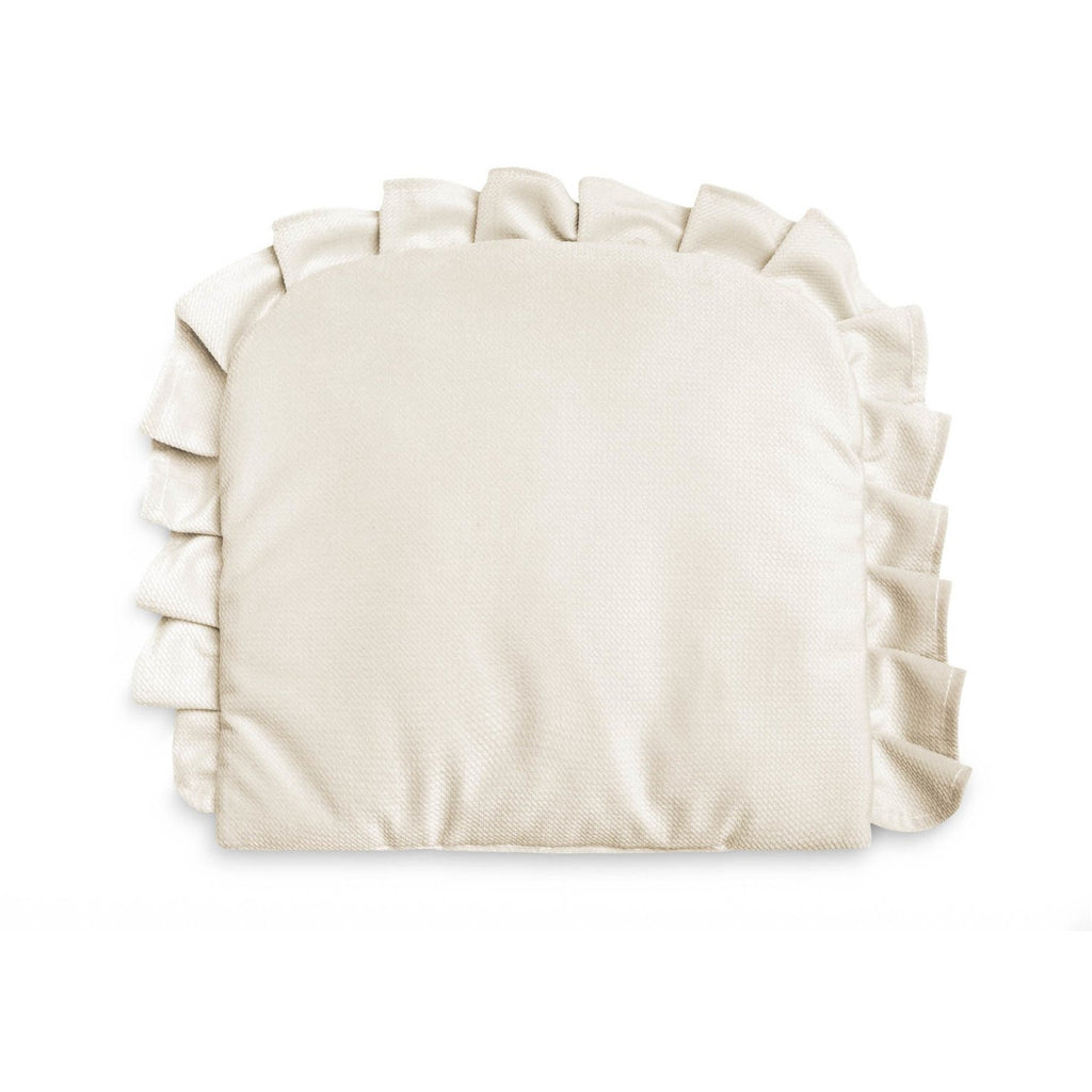 Sensillo Velvet Pillow With Frill - Cream