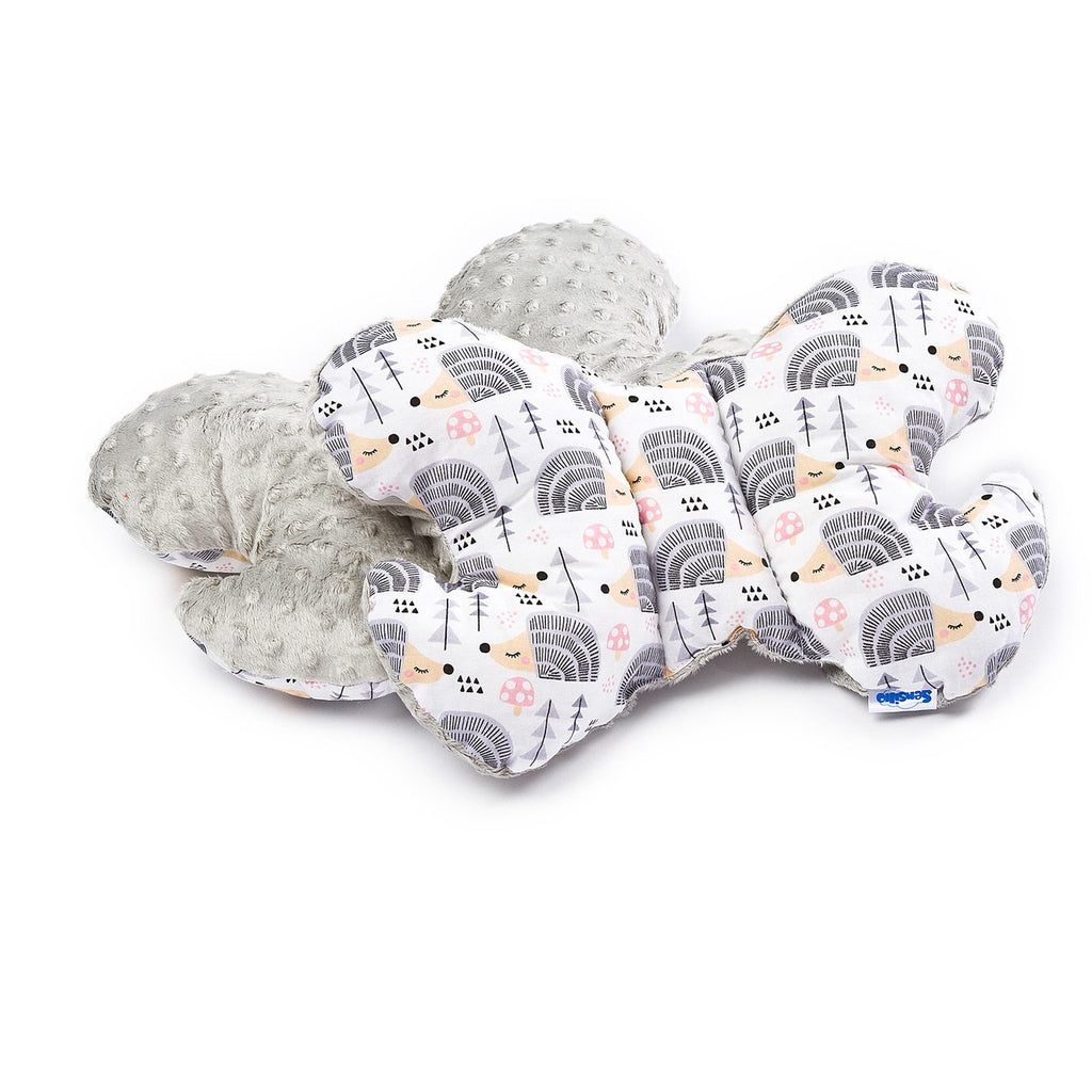 Sensillo Minky Butterfly Pram Cushion - Grey Hedgehogs