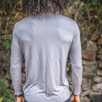 Men's long sleeved t-shirt base layer grey back