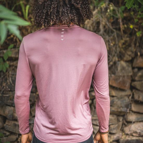 Men's long sleeved t-shirt base layer pink back