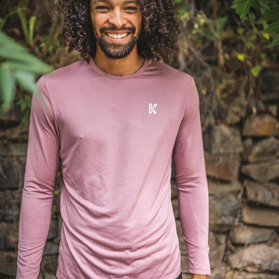 Men's long sleeved t-shirt base layer pink front