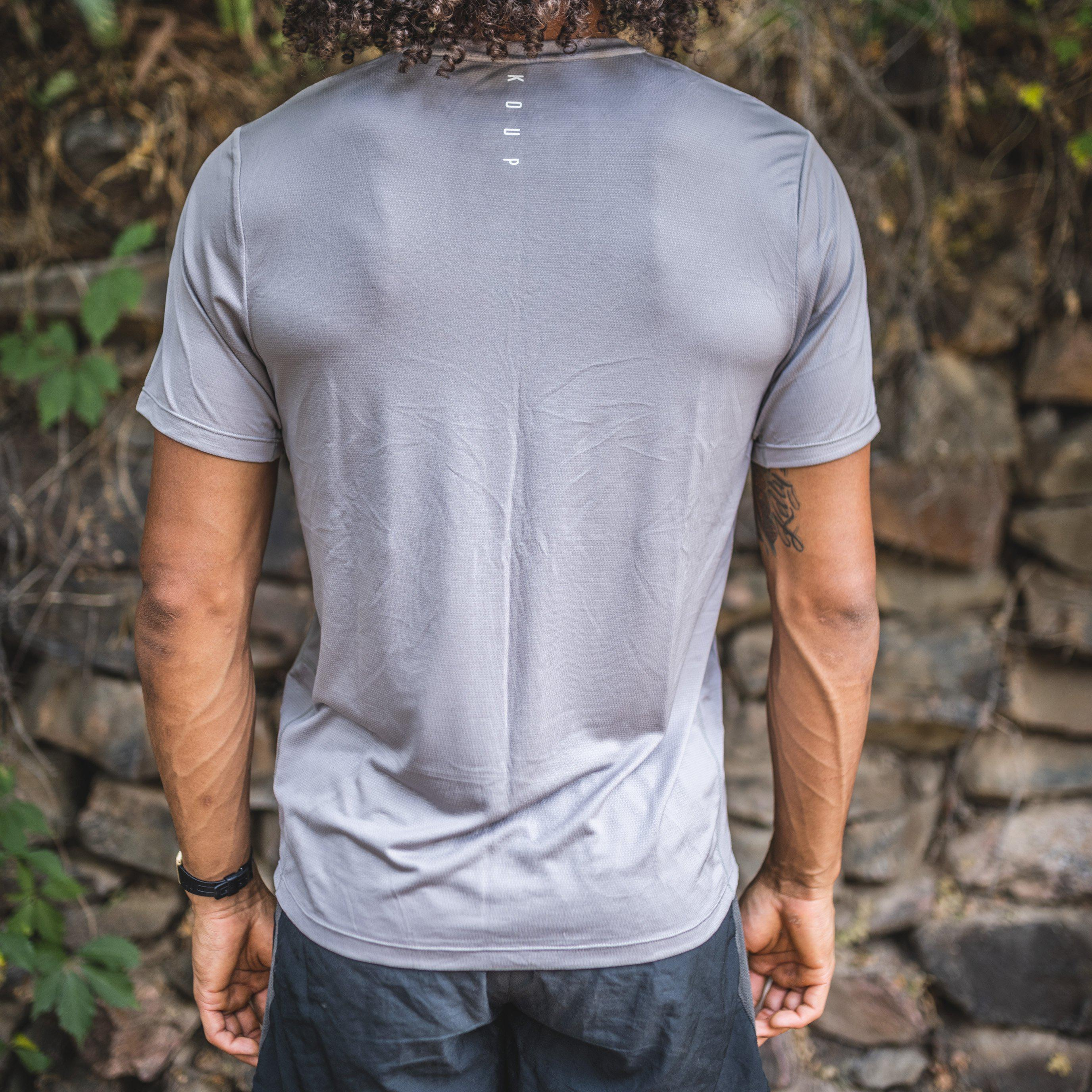 Men's short-sleeves performance t-shirt grey back