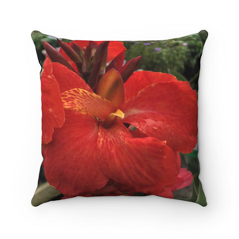 Canna Lily Grass Spun Polyester Square Pillow