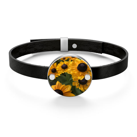 Sweet Black Eyed Susan Leather Bracelet