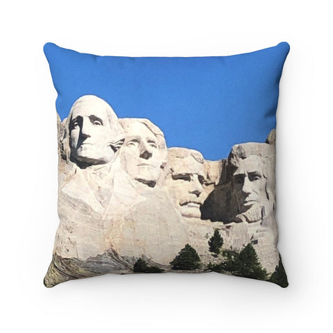 Mount Rushmore Polyester Square Pillow