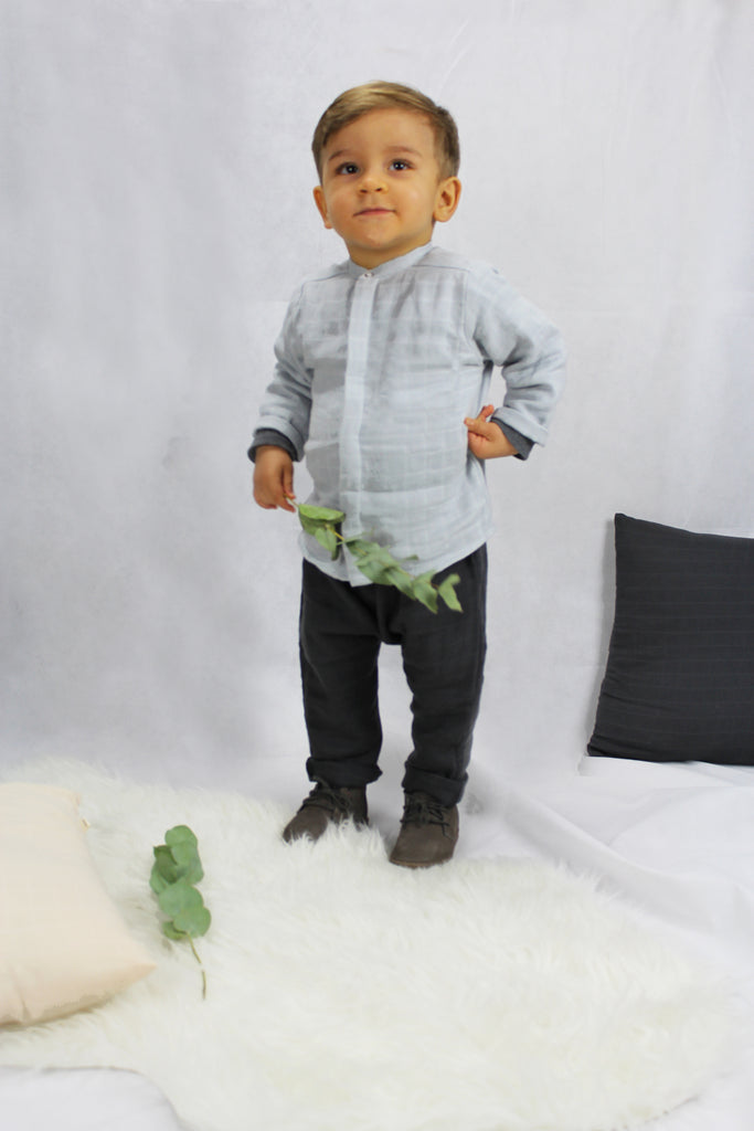 Baby Boy May Shirt, Light Grey