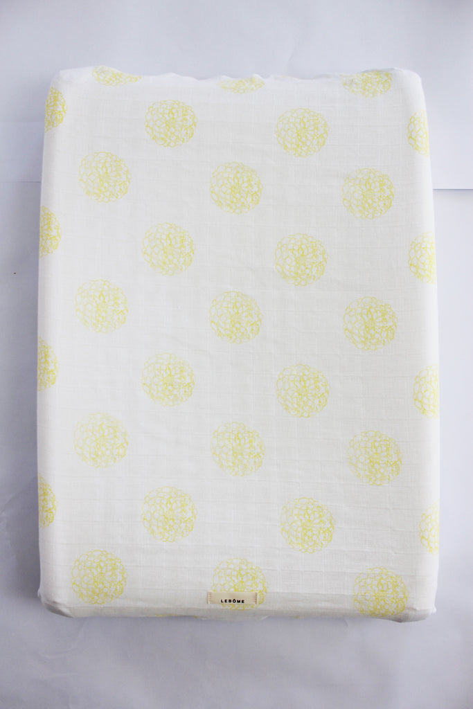 Baby Changing Mat Cover, Unisex, Yellow/White