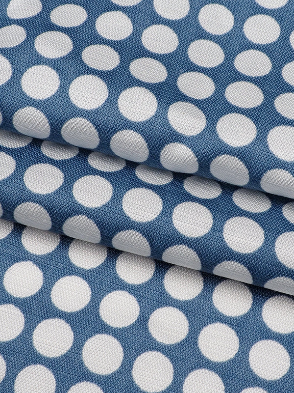 Hemp, Organic Cotton & Silk Light Weight Polka Dot Herringbone Fabric ( Blue/White Print )(GS11442) - Hemp Fortex