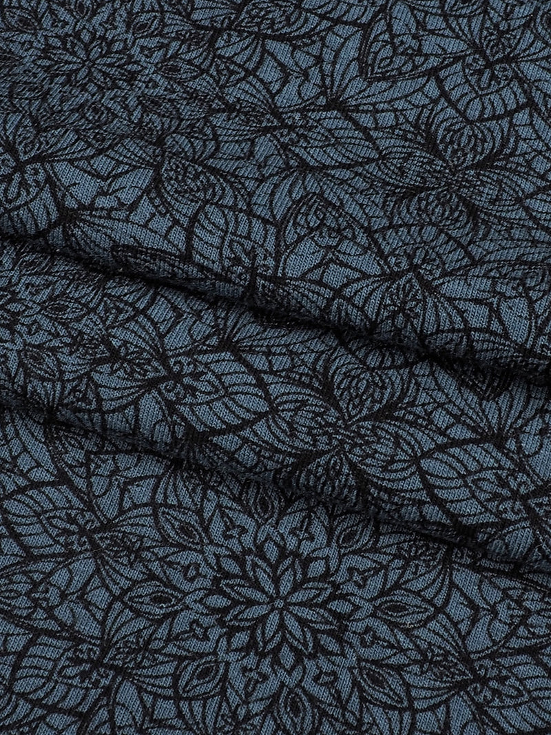 Organic Cotton & Bamboo Mid-Weight Stretched Printed Jersey Fabric ( KJ14088 Blackish Blue Printing )