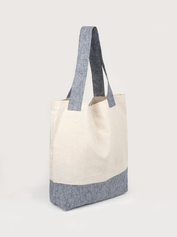 White Gray Recycled Hemp Tote