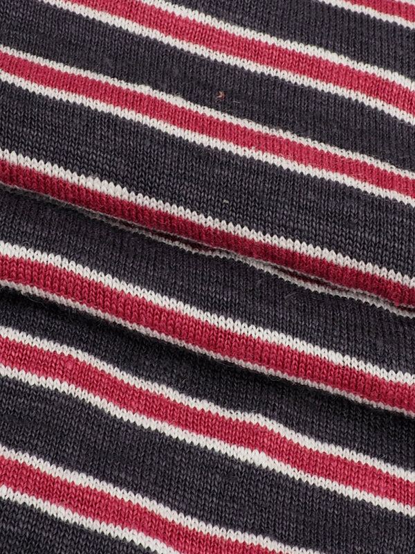Pure Hemp Mid-Weight Striped Jersey Yarn Dyed Fabric ( KJ39D963 Two Colors Available )