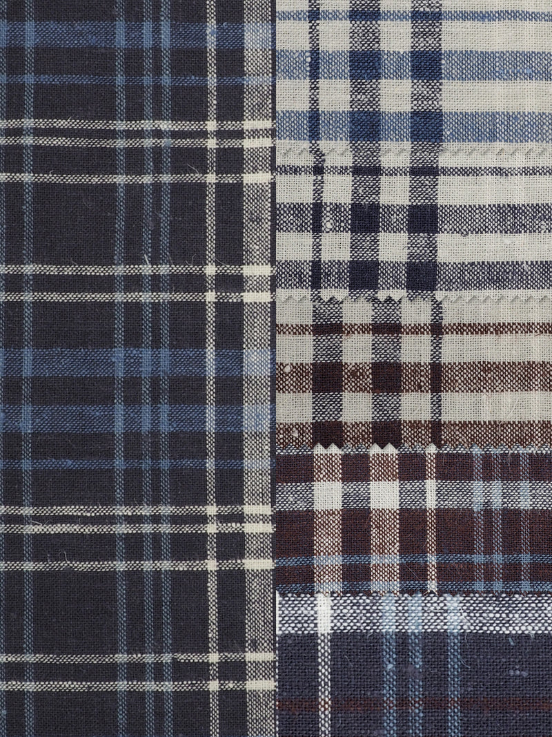 Hemp & Organic Cotton Light Weight Plaid Fabric ( HG58E201D )