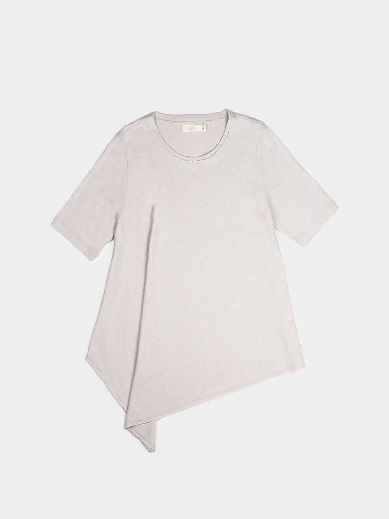 Hemp, Organic Cotton Blended Women's Asymmetrical Hem Short-Sleeved T-shirt