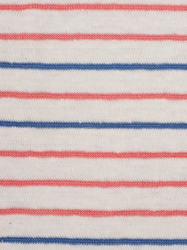 Hemp, Organic Cotton & Recycled Poly Light Weight Jersey Yarn Dyed Fabric  ( KJ17835A Natural/Blue/Red Stripe ) - Hemp Fortex