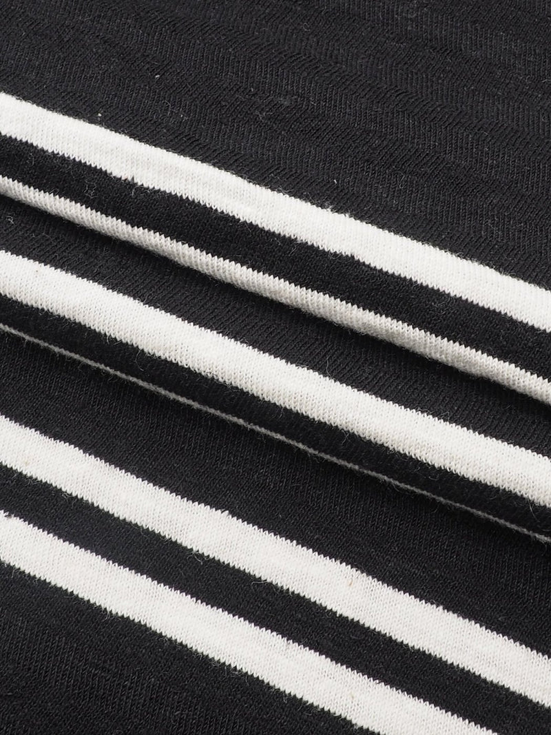 Hemp & Organic Cotton Mid-Weight Large Size Stripe Jersey(KJ21D854)