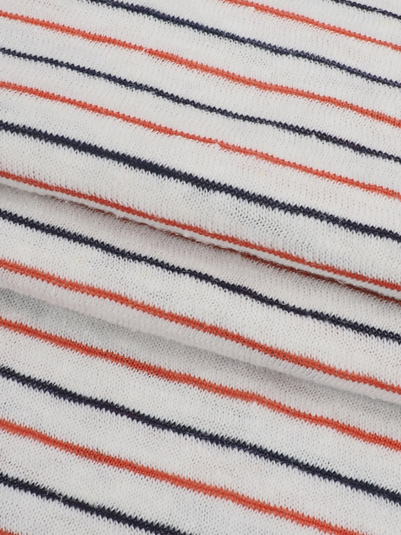Hemp, Organic Cotton & Recycled Poly Light Weight Stripe Jersey Yarn Dyed Fabric ( KJ13824-7 Natural/Red/Black Stripe ) - Hemp Fortex