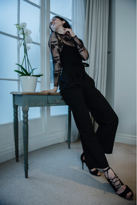 Black wrap trousers