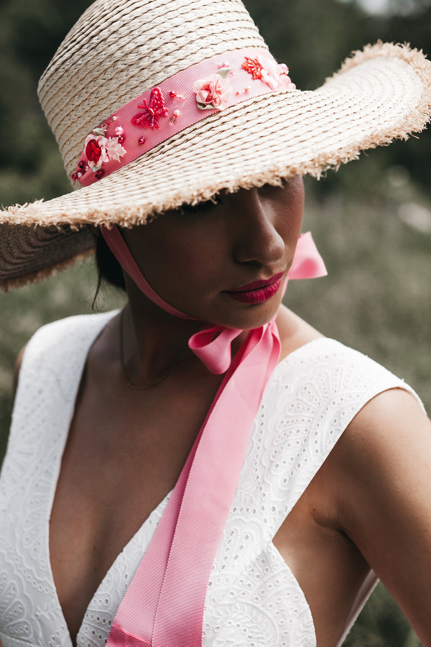 Pink ties straw hat