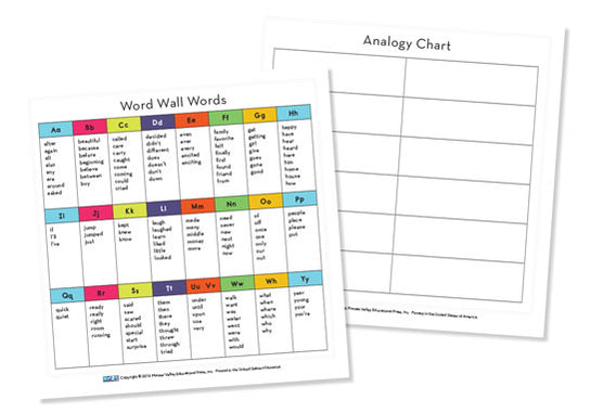Word Wall/Analogy Chart Cards for First Grade - set of 6