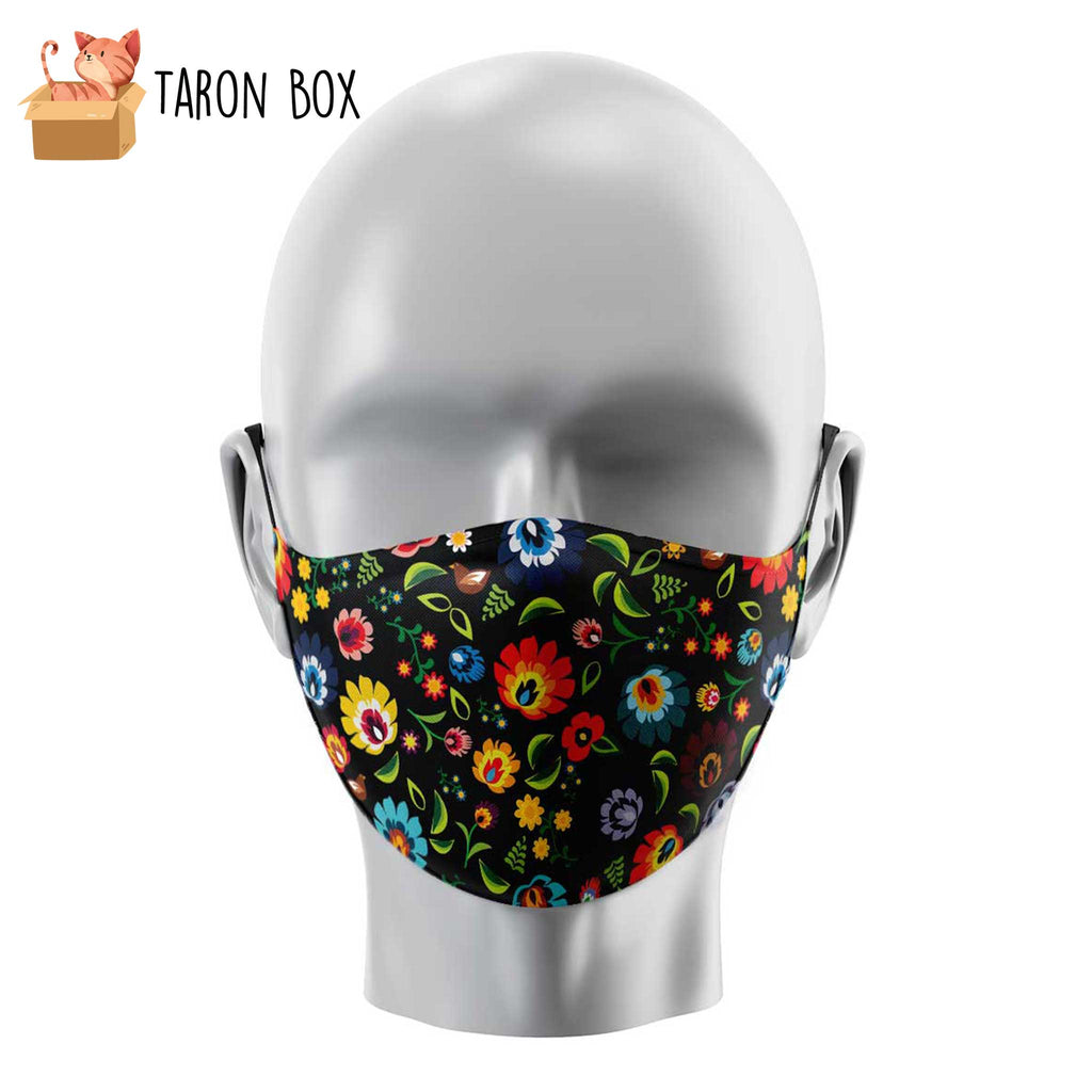 Mascarilla reutilizable flores hippies