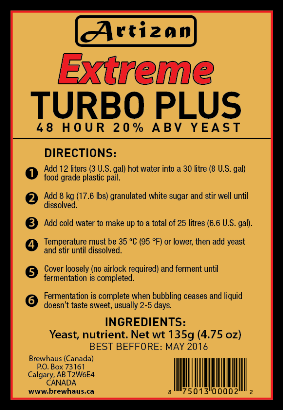 Artizan Extreme 20 Turbo Plus Yeast