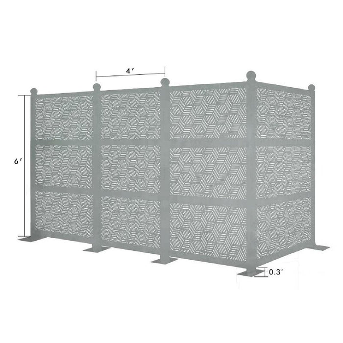 12.6ft. H x 6.3 ft. W Freestanding Modular Metal Privacy Screen Laser Cut Decorative Steel Privacy Panel Metal Fencing