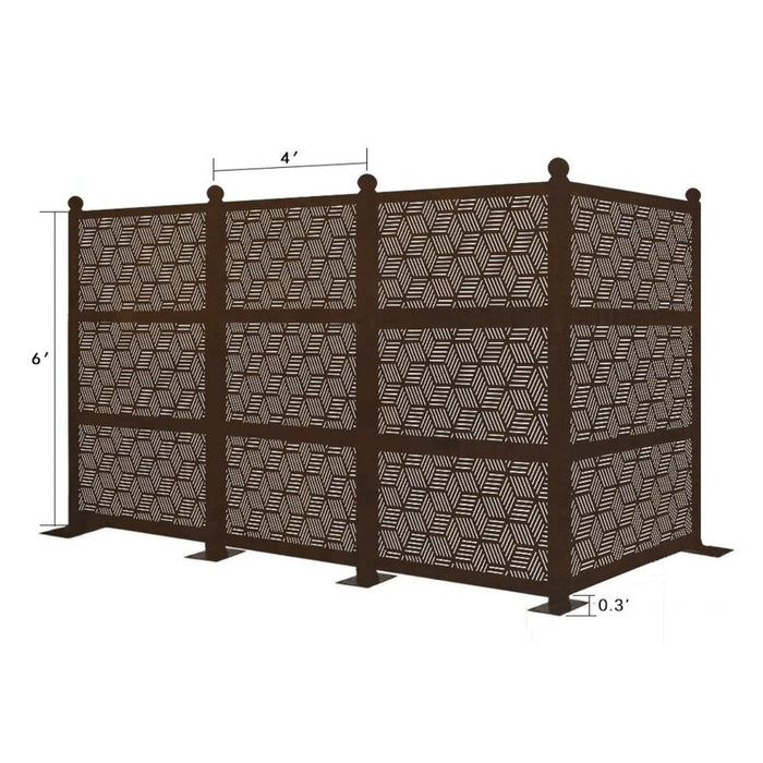 12.6 ft. H x 6.3 ft. W Freestanding Modular Metal Privacy Screen Laser Cut Decorative Steel Privacy Panel Metal Fencing