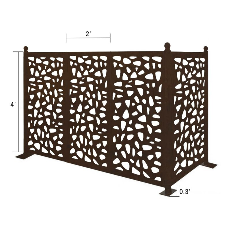 4.3 ft. x 6.3 ft. Freestanding Modular Metal Privacy Screen