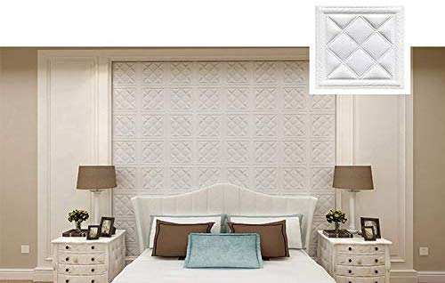 E-joy 3D Wall Panels Leather Texture Pattern 28 Inch x 28 Inch Soft and Waterproof Wall Stick for Living Room/Bedroom/TV Background